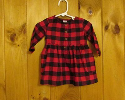 Carter's 6 mos. black/red check; cotton flannel dress