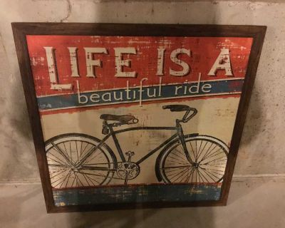 Life is a Beautiful Ride kitchen bedroom framed picture vintage decor 38x38