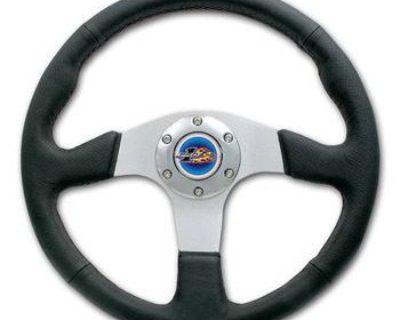 "Yamaha Rhino Pro One 13-1/2"" Leather Steering Wheel With Polished Adapter Combo"