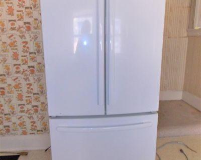 White GE French Door Refrigerator