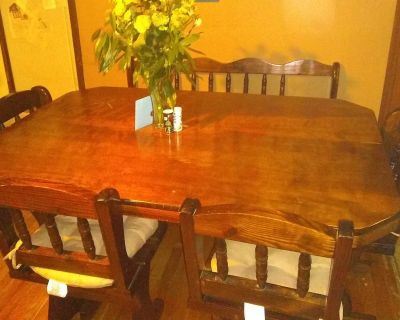 dining table with chairs/bench