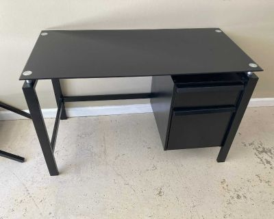 Desk with glass top and file drawer