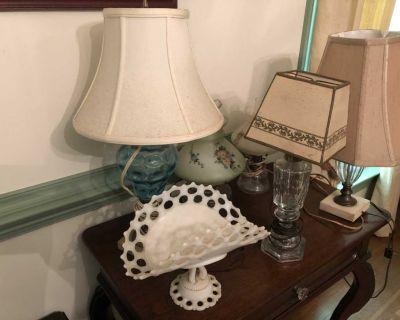 Vintage Lamps and Glass Stand