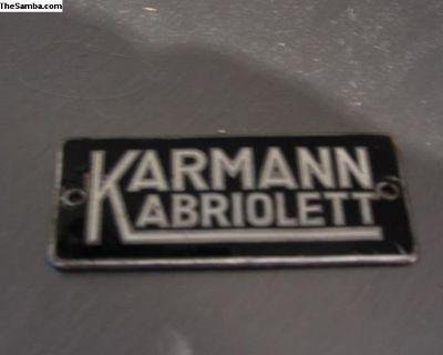 Original early converible Karmann Kabriolett badge
