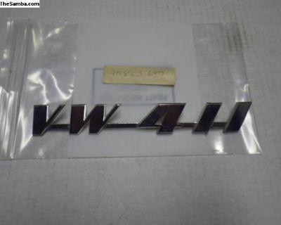 NOS VW 411 Emblem Script Rear Hatch