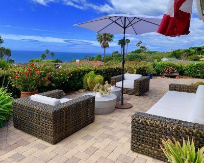 Tropical ocean view Malibu sanctuary w/ heated salt pool, spa, fire pit, beaches - Eastern Malibu