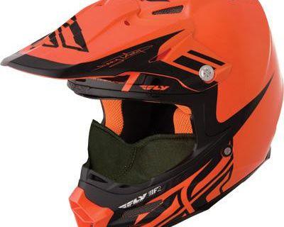2014 Fly Racing F2 Carbon Snow Helmet Orange Black Dubstep Snowmobile