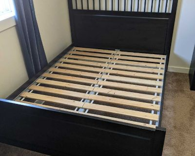 Queen Size Black Wood Bed Frame with Slats for pick up in Cooper's Crossing Airdrie