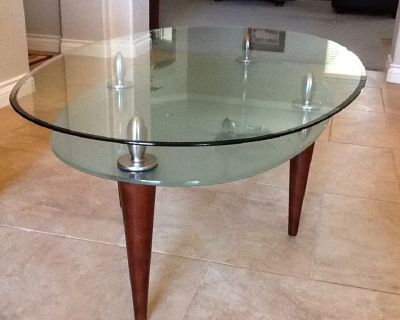 OVAL GLASS 2 TIER COFFEE TABLE