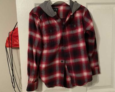 Red/black hooded long sleeved shirt, size 7/8, $5
