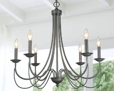 Rustic French Country Farmhouse Chandelier - Antiqued Silver -New!