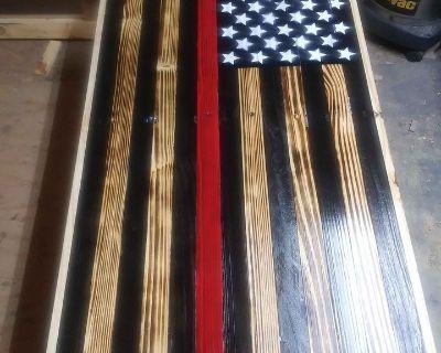 FS American Flag Red Line wall hanger