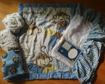 Crib and Toddler Complete Monkey Bed Set