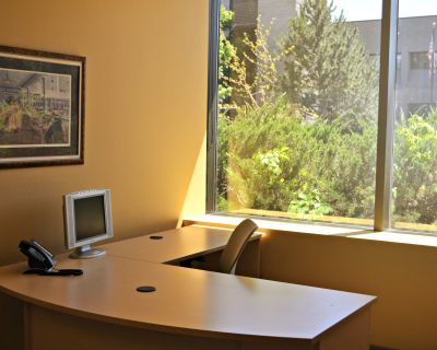 """Class A fully furnished """"Plug and Play"""" office with Free Internet, Phone and Parking."""