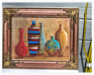 """Elegant Vessels of Tabuk Print (US) Home Decor, Canvas, Painting, Portrait w/Archival Inks and """"Antique Finish"""" Frame -"""
