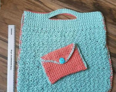 Crochet tote bag, tablet pouch, casual with small envelope clutch, handmade, NEW