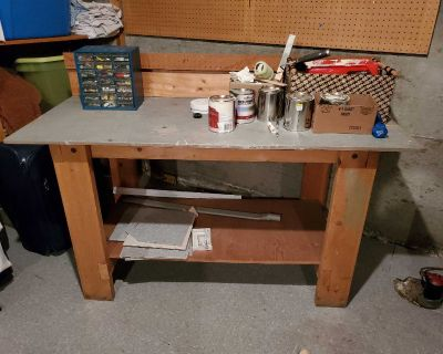 """Wood Work Bench - 60"""" long, 25"""" wide, 33"""" tall"""