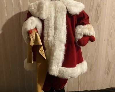 Classic Santa Figure in Soft Red Suit with Leather Santa List: Large 28 H