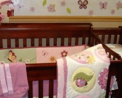 Crib with Mattress, Changing Table and Dresser