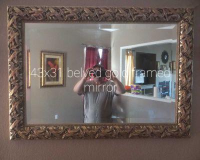 Large frame beveled mirror