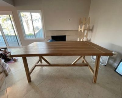 Dining table office desk + two chairs! Armless upholstery