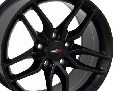 17/18 Matte Black Corvette C7 Stingray Style Wheels Set Of 4 Fits Chevrolet B1w