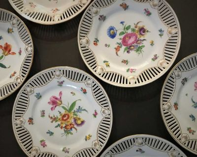 Antique Hand Painted Cut Out Dresden Decorative Plates Edged in Gold.