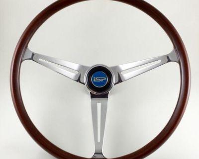 """Flat-4 GT 14"""" Wood Steering Wheel Complete"""
