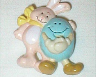 Vintage Easter Pin Brooch - Bunny Rabbit & Blue Egg