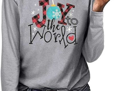 Gray Long Sleeve Joy to the World Top Large