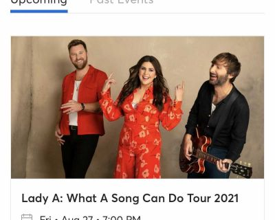 2 tickets to Lady A at FirstBank Amphitheater