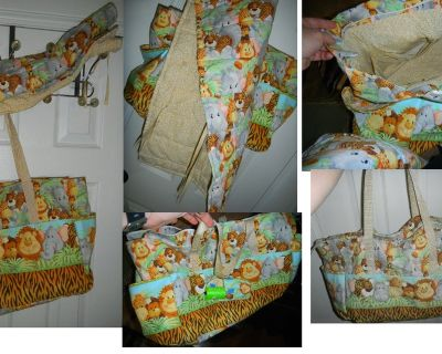 Handmade Jungle Babies Diaper Bag w/ Matching Changing Pad Baby XL / Large Tote