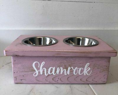 Handmade wooden pet feeder stand