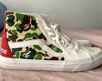Vans Sk8 Hi Supreme X Bape Custom Shoes
