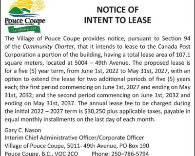 NOTICE OF INTENT TO LEASE