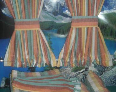 VW Mulit-color Stripe Bus Curtains w Cabin Divider