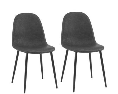 NEW - IN-BOX - TWO (2) WESTON MID-CENTURY MODERN BLACK FAUX LEATHER DINING/DESK/ACCENT CHAIRS