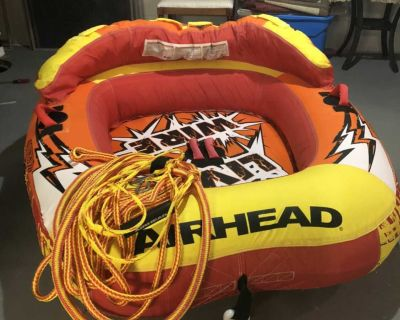 Air Head boat tube with tow rope