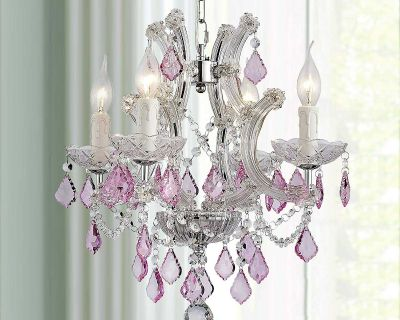 Pink Crystal Pendant Chandelier--Brand New in Box