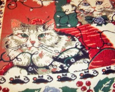 """Cat wall hanging for the cat lover. 43"""" X 84 with 1 1/2"""" fringe"""