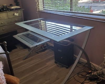 Glass Top Computer Desk - Free -You Haul