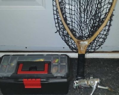 Freshwater fishing tackle, reel and net $75