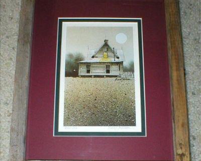 Old Prairie House Vtg Art Print Signed & Numbered - Rustic Wood Frame