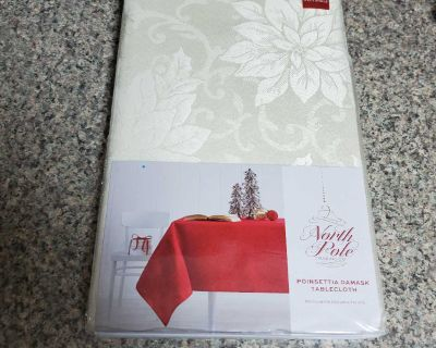 60x84 INCH, NORTH POLE, RECTANGLE CREAM, POINSETTIA DAMASK TABLECLOTH, BRAND NEW NEVER BEEN OPENED, EXCELLENT CONDITION, SMOKE FREE HOUSE