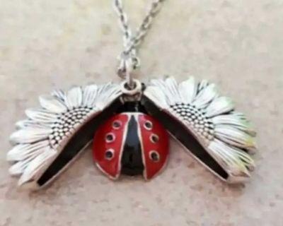 Sunflower ladybug locket necklace