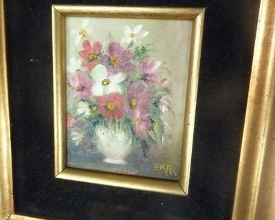 Floral Oil painting in Gold Frame