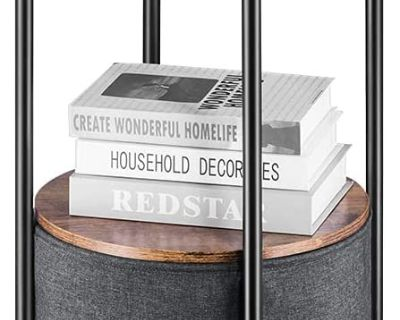 Industrial Round Side End Table with Storage - New!