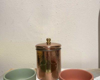 Dog Bowls and Treat Jar