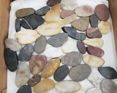 Flat river rock shower floor tiles. Only have approximately 7 full pieces. Could