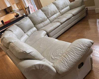 Large Leather Sectional - Beige - Pull Out Bed